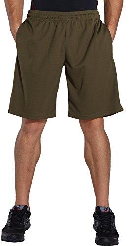 KomPrexx Sporthose Herren Kurz mit Taschen - SCHNELL TROCKNEND - Fitness Sport Shorts mit Kordelzug Kurze Trainingshose (ArmyGreen,XL)