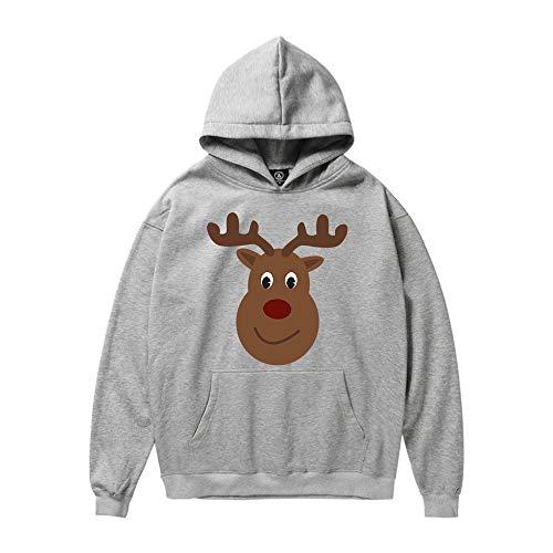 KPILP Sweatshirt Men Unisex Kapuzenpullover Übergröße Weihnachtsmann Print Langarmshirts Bluse Winter Hoodie(A-grau,EU-64/CN-2XL