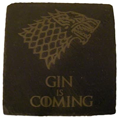 FastCraft SLATE GAME OF THRONES INSPIRED COASTERS DRINKS MAT ENGRAVED NOVELTY BIRTHDAY PRESENT WEDDING HOUSE WARMING GIFT LASER ENGRAVED GIN IS COMING