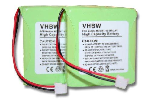 vhbw 2X NiMH Akku 600mAh (2.4V) für schnurlos Festnetz Telefon Medion MD81877, MD82711, MD82772, MD82877 wie 5M702BMX, GP0827, GPHP70-R05.