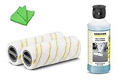 KÄRCHER original Walzen Bürsten gelb 2.055-006.0 & Universalreiniger 500 ml 6.295-944.0 Zubehör für FC 5 + Microfasertuch 40 x 40 cm SET Ersatzwalzen und Reinigungsmittel