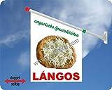 Werbeflagge (Fahne mit über 50 Varianten, Text und Bild, z.B. Eis, Döner, Kaffee, Crepes, Waffeln, Pommes uvm.) Ideal für Kiosk, Restaurant oder Kirmes, weiß (Langos)