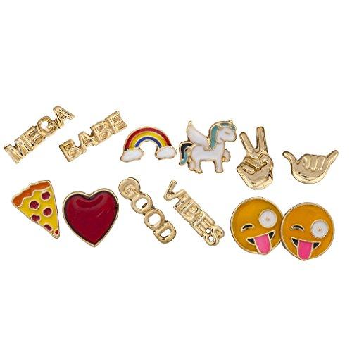 Hat Zeichen Regenbogen Peace (LUX Zubehör Gold Ton Emoji-Rainbow Verbiage Neuheit multi Ohrring Set)