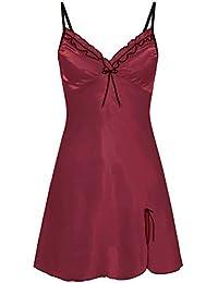 VJGOAL Vestido de Noche para Mujer Talla Grande Encaje de Encaje Color sólido Lencería Babydoll Tentación Encantadora conservadora Ropa Interior erótica Pijama