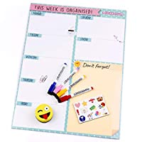 aeioubaby.com Magnetic Weekly Planner, 4 Whiteboard Markers, 12 Magnets, 1 Rubber | Fridge Calendar English 43x23cm Kitchen Whiteboard | Organiser Reminder | Shopping List | Food Plan | Gift Box