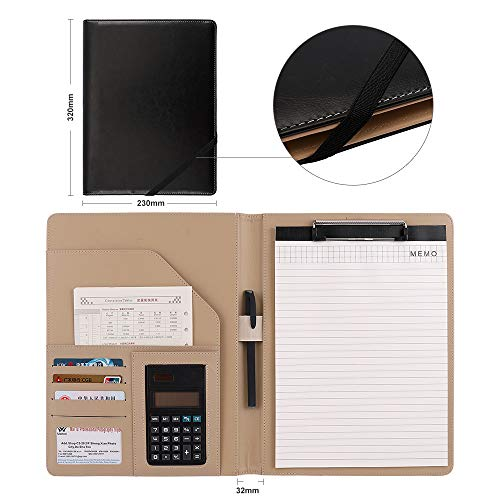 Oficina Negocio Portafolio de Carpeta Portadocumentos Conferencias A4 con Calculadora Carpetas para archivo Organizador Clip Bloc de notas Negro