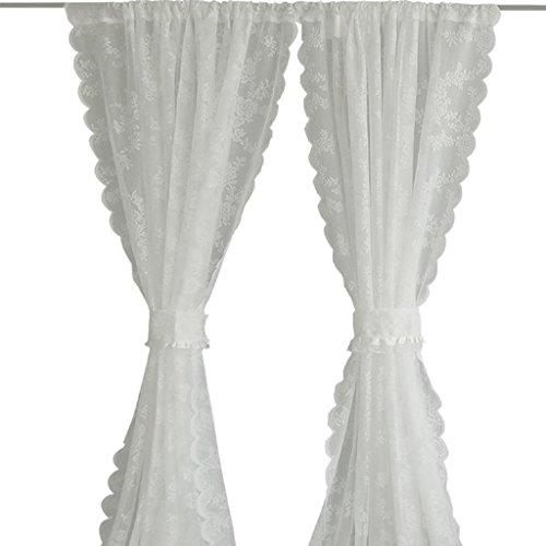 Vorhang Mittelmeer Polyester Spitze Wellenrand Fenstersiebung Gardinen Hintergrund Vorhänge 6 Größen Ohne Riemen Weiß Zwei Anzüge Licht Geeignet für Schlafzimmer , 145 wide x300 high *2 no bandage -
