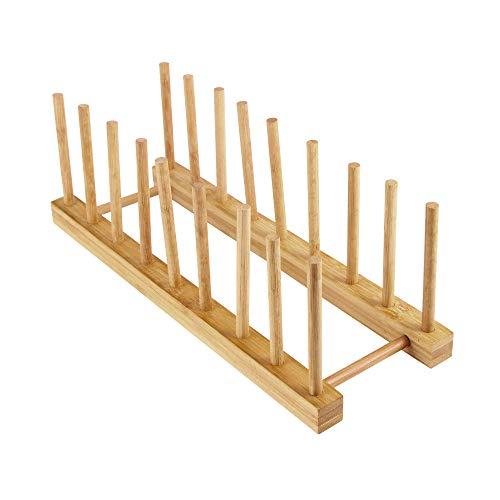 TTAototech - Escurreplatos multiusos de madera maciza de bambú para cocina 8 Slots