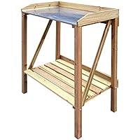 Jom 127359 - Tabla de siembra con la almohadilla de metal, 70 x 45 x 90 cm, madera de metal / marrón
