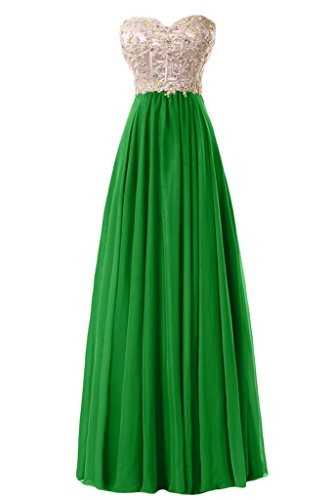 Sunvary paillette di una linea Sweetheart Chiffon Evening Dresses Homecoming Gowns Verde