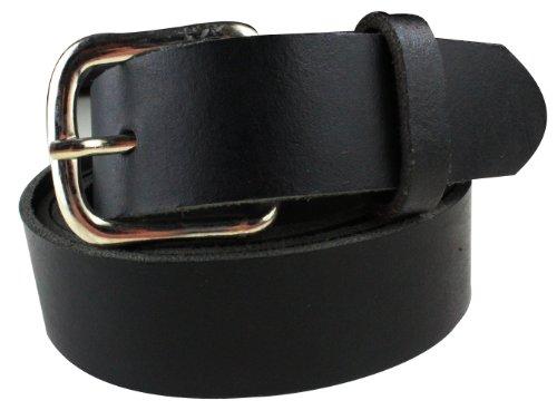 Echt Leder Herren Gürtel in schwarz glatt ohne Muster | Bundweite 130cm = Gesamtlänge 145cm