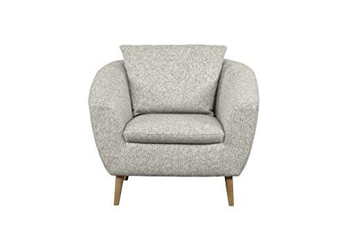Cavadore Sessel Flira mit Rückenkissen / Sessel im modernen skandinavischen Design mit Holzfüßen in Buche natur / 3-2-1  Garnitur / Größe: 99 x 78 x...