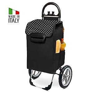 Einkaufstrolley XXL Kiley mit großen Rädern in schwarz mit 78L – großer Transportwagen Einkaufshilfe Trolley 50kg belastbar