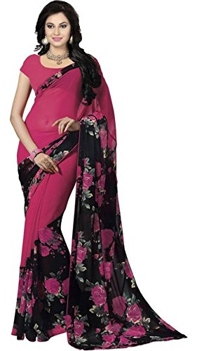Vipul Women's Branded PINK & BLACK Casual Wear Printed Georgette Saree ( Bollywood Designer Saree With Designer Blouse Best Gift For Mummy Mom Wife Girl Friend, Exclusive Offers and Sale Discount 2017 )  available at amazon for Rs.207