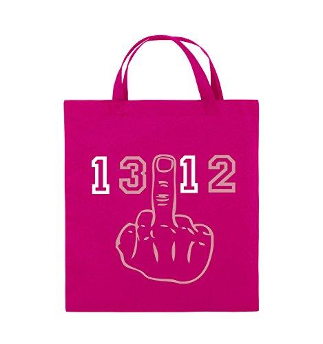 Comedy Bags - FUCK FINGER 1312 - Jutebeutel - kurze Henkel - 38x42cm - Farbe: Schwarz / Weiss-Neongrün Pink / Rosa-Weiss