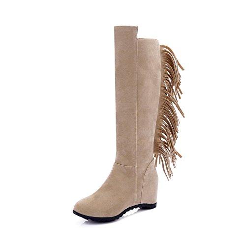 AgooLar Damen Blend-Materialien Rund Zehe Rein Hoch-Spitze Hoher Absatz Stiefel, Cremefarben, 38