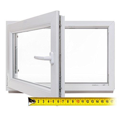 Kellerfenster - Kunststoff - Fenster - weiß - 3-fach-Verglasung - BxH: 65x40 cm - DIN links - 60mm Profil - verschiedene Maße - schneller Versand