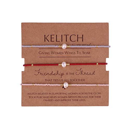 KELITCH 3er Set Mix Perle Farbe Miyuki Perlen Charme Freundschaft Armbänder Handmade Stretcharmbänder einstellbar Armbänder für Frauen Mädchen - Kombination K