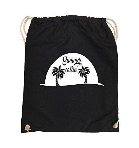 Comedy Bags - Summer callin - PALMEN - Turnbeutel - 37x46cm - Farbe: Schwarz / Silber Schwarz / Weiss