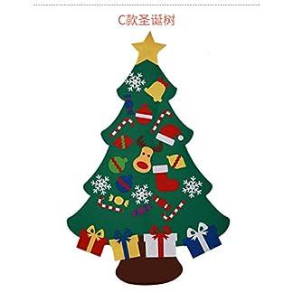 HANXIN Juego de árbol de Navidad de Fieltro DIY con Decoraciones Infantiles Decoración de Pared de joyería Desmontable de año Nuevo