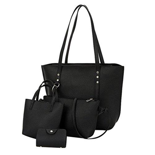 VJGOAL Damen Schultertasche, 4Pcs Frauen Mädchen Mode Muster Leder Schultertasche + Umhängetasche + Handtasche + Brieftasche Geschenke (38*13*29cm, Schwarz)