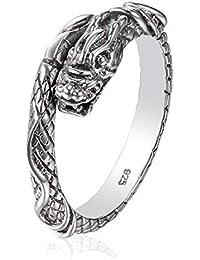 Serebra Jewelry Dragón Anillo de plata de ley 925 tamaño ajustable unisex hombres mujeres