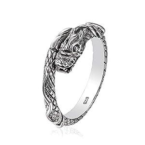 Drachen Ring aus 925 Sterlingsilber Größenverstellbar Unisex Silber Herren Damen by Serebra Jewelry