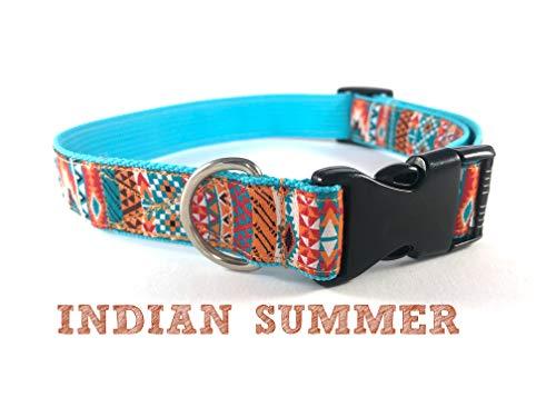 Hundehalsband Halsband Hund Indianisches Azteken Muster bunt türkis orange verschiedene Größen (S,M,L,XL) INDIAN SUMMER by Easy and Cooper
