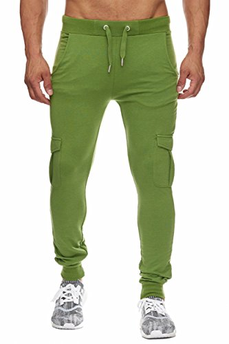 BELLIS® Cargo Trouser with Plain and Zip Jogginghose Sweatpants Herren S-XXXL / T-00013 Olive