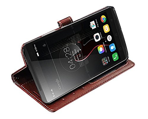 Febelo Premium Quality PU Leather Magnetic Lock Wallet flip cover Case for Lenovo Vibe K4 Note – (Brown Color)