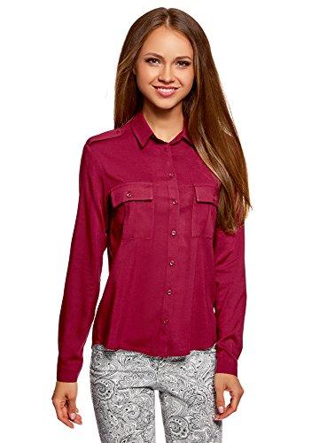 oodji Ultra Damen Viskose-Bluse Basic mit Brusttaschen, Rot, DE 42/EU 44/XL (Tasche Shirt Mit Klappe)