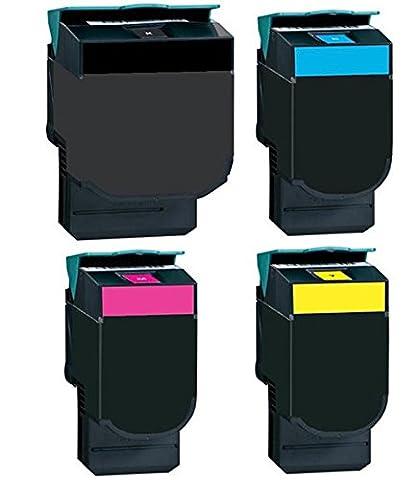 4x Set Toner compatible pour Lexmark C540C543C544C544C544C546X543X544X544| 4Toners Noir, Cyan, Magenta et