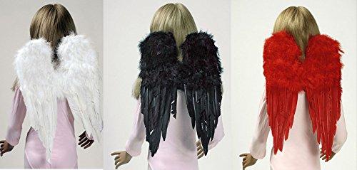 Kostüm Zubehör Flügel aus Federn 30x45cm Engel Teufel Dämon (Flügel Kostüm Engel Zubehör)