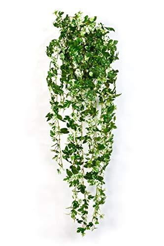 artplants Set 'Kunstpflanze Scheinrebe + Gratis UV Schutz Spray' - Künstliche Ranke SICHIA, auf Steckstab, grün-weiß, 95cm