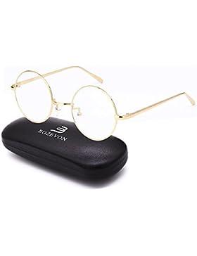 KINDOYO Ronda de Metal clásico Vintage Gafas Transparentes lentes Gafas de moda para las Mujeres y los Hombres