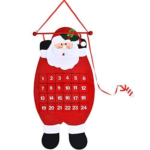 Babbo calendario di natale albero calendario di natale avvento feltro pendenti 3d conto a rovescia di 24 giorni a natale calendario decorazione di countdown natale per decorazione a parete e porta