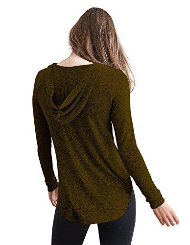 Leapparel Maglietta felpata con cappuccio del v-collo manica lunga delle donne Dark Khaki