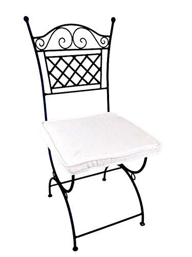 ORIGINAL Orientalischer Stuhl Gartenstuhl aus Metall Schwarz Caravaca | Marokkanischer Balkonstuhl...