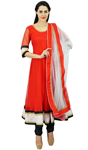 Atasi Frauen Reeindymeinde Red Net Salwaar Kameez Anzug mit Designer Dupatta schicke indische Partei zu tragen