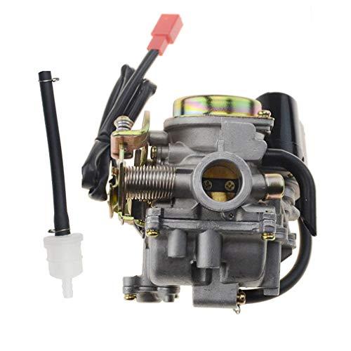 GOOFIT PD18J Vergaser Kit E-Choke mit Benzinfilter für 4 Takt GY6 49cc 50ccm Chinesischer Roller Moped 139QMB Taotao Kymco