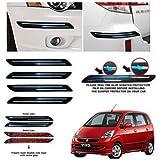 DARROR Rubber Car Bumper Protector Guard with Double Chrome Strip for Car 4Pcs - Black (for Maruti Suzuki Zen Estilo E20)