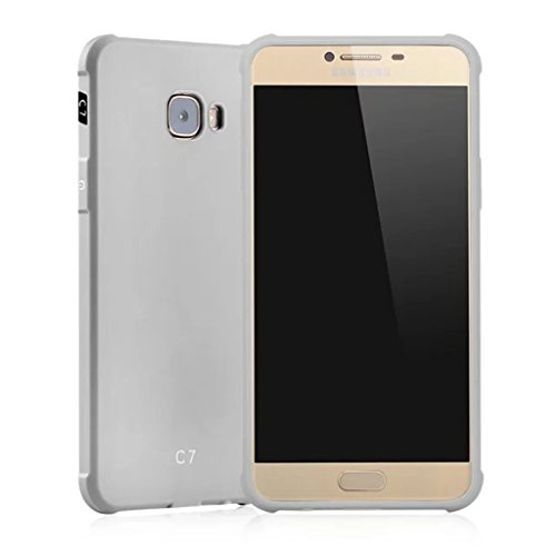 Schutzhülle Samsung Galaxy C7(C7000) Hülle, Business Serie Stoßfest Ultra Dünn Weich Silikon Rückseite Fall für Samsung Galaxy C7(C7000) (Hellgrau) - C7000 Serie