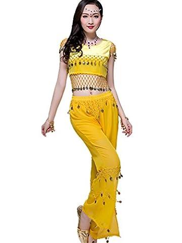 Danse Outfits Dansewear Danse du ventre Costume Set Tribal Danse indienne Top&Coins pantalons Red/Yellow