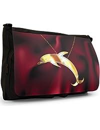 Pictures of Insect Animal Pendants Large Messenger Black Canvas Shoulder Bag - School / Laptop Bag