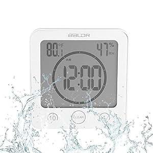 Horloge de salle de bain Horloge étanche Douche Écran LCD numérique ...