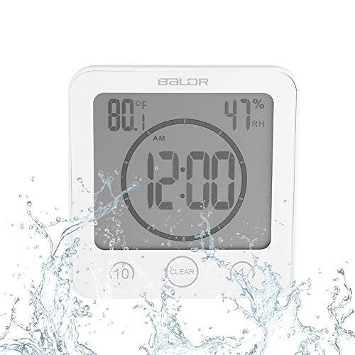 Badezimmeruhr Wasserdichte Dusche Uhr Timer Saugnapf Digital LCD Display Thermometer Hygrometer Silent Wanduhr Timer Küche Badezimmer(Weiß) -
