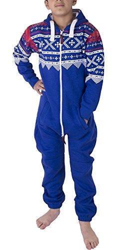 Unisex Kinder Mädchen Jungs Halloween Skelett Fleece Onesie Jumpsuit mit Kapuze 7-13 Jahre (11/12 Jahre, Aztec Blau)