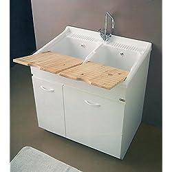 Yellowshop - Mobile Lavatoio Lavapanni Lavanderia e Bagno In Legno A Due Vasche Bocche Con Anta Ante Mobile Mobiletto Pilozza Lavabo Armadio Bianco Cm 80x60 Altezza 85