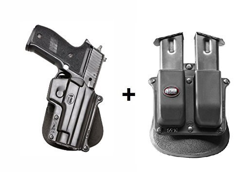 Fobus Pistol Case Paddle Holster + 6909ND Double Magazine Pouch for Sig Sauer P220, P226, P227, P228, P245, P225. SAR B6.Smith & Wesson 3913 (Ladysmith), 4013, 5904, 6906, 5946, 3919, CS9. Not for T / S&W 6906, 4566, 4003 / SAR Arms B6 / Tristar C100, L120 -