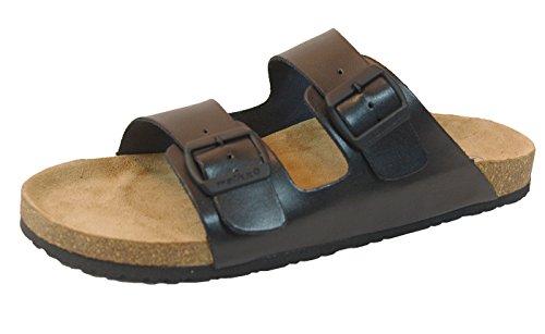 Walkx Comfort Herren Bio Clogs Tieffußbett Pantoletten Sandalen Echtes Leder 2 Schnallen Schwarz Gr. 41/42/43/44/45 (41) (Pantoletten Leder Clogs)